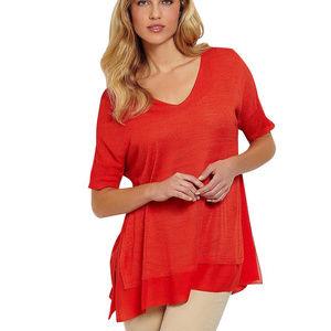 Silk Tussah Jersey Chiffon Trim Box Sweater Top XS